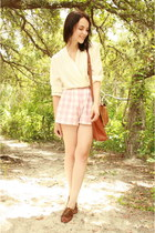 brown coach bag - light pink plaid Twitch Vintage shorts - ivory deep v draped t