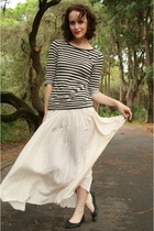 black Target shirt - white thrifted skirt - black Gap via Ebay shoes - gold Targ