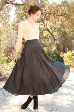black maxi httpstoresebaycomTwitchVintage skirt - black lace up Forever 21 boots