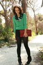 Green-sweater-black-american-apparel-shorts-black-walgreens-tights-black-m