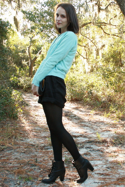 light blue cardigan - ivory blouse - black thrifted vintage shorts - brown thrif