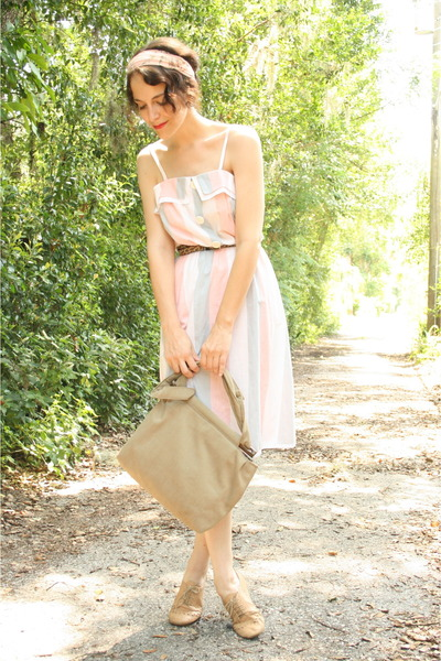 light brown leopard print thrifted belt - peach striped Twitch Vintage dress