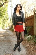 black flat H&M boots - black pleather Forever 21 jacket