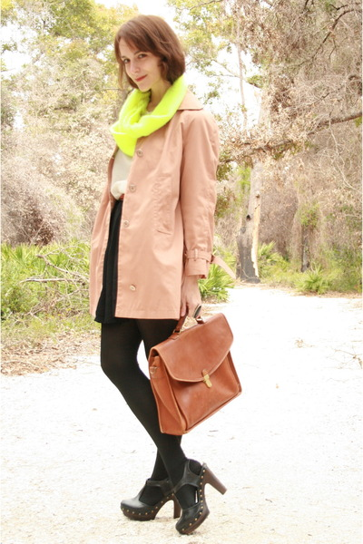 yellow thrifted scarf - tan thrifted coat - ivory thrifted blouse - black TJ Max