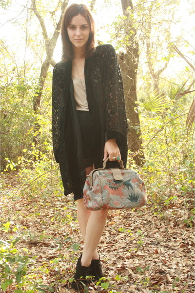 lace up Forever 21 boots - burn out kimono httpstoresebaycomTwitchVintage jacket