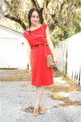 Red-nautical-vintage-dress-tan-thrifted-dooney-bourke-purse