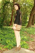 camel Forever 21 boots - black shrunken fit thrifted blazer - beige Dooney & Bou