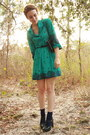 Turquoise-blue-floral-print-httpstoresebaycomtwitchvintage-dress-navy-studded-