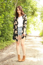 black Twitch Vintage jacket - camel ankle asos boots - light blue Levis shorts