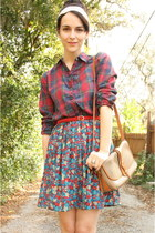 ivory thrifted scarf - tan cross body Doony & Bourke purse