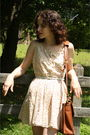 Yellow-httpstoresebaycomtwitchvintage-dress-white-thrifted-belt-brown-coach-