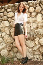 white vintage blouse - black vintage shorts - silver Rings accessories - black D