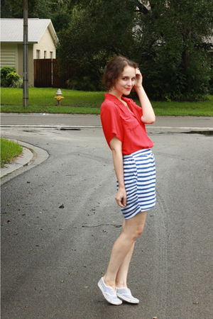 blue striped Urban Outfitters skirt - blue striped Keds shoes