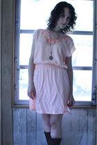 pink httpstoresebaycomTwitchVintage dress - brown vintage boots