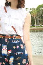 White-cynthia-rowley-blouse-blue-shorts-blue-dooney-bourke-purse-brown-v