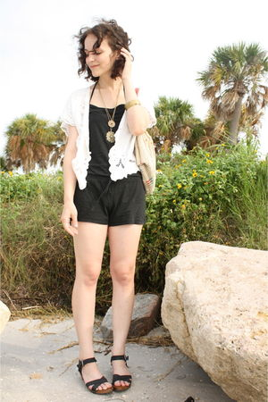 white httpstoresebaycomTwitchVintage blouse - black thrifted Old Navy swimwear -
