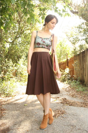 Dark Brown Vintage Pleated Midi Skirt | Chictopia