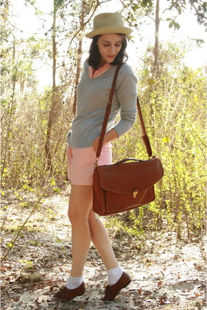 brown via ebay coach bag - heather gray v neck Thrifted Gap sweater