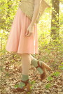 Peach-pleated-httpstoresebaycomtwitchvintage-dress-tan-boater-thrifted-hat-i