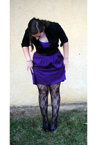 black talbots shirt - purple Forever 21 top - purple Self Made skirt - black thr