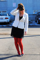 white thrifted jacket - black thrifted dress - red TJ Maxx tights - white Gianni