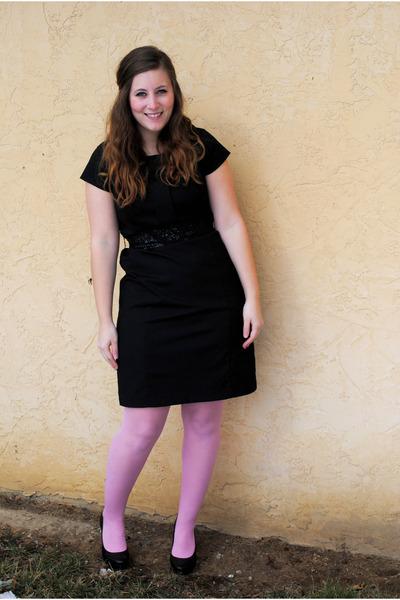black Target dress - pink Betsey Johnson tights - black thrifted belt - black BC