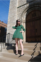 green H&M dress
