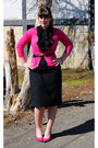 Pink-old-navy-cardigan-black-forever-21-top-black-thrifted-skirt-pink-moda