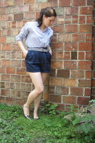 silver SE Boutique shoes - blue thrifted shirt - blue Forever 21 shorts