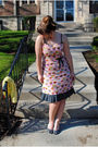 Pink-paperdoll-productions-dress-silver-naturalizer-shoes-yellow-h-m-cardiga