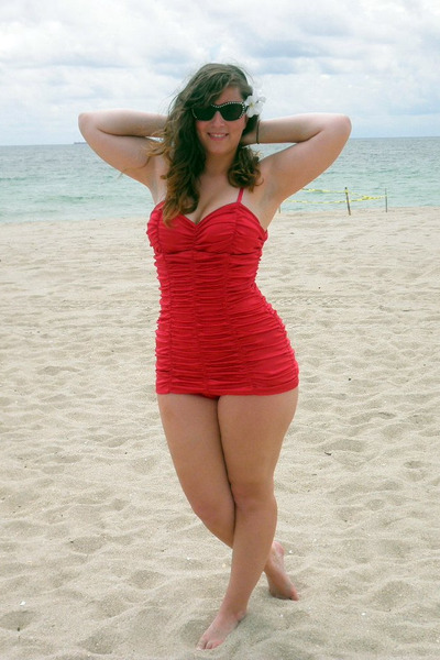 red Pinup Couture swimwear - brown Betsey Johnson sunglasses