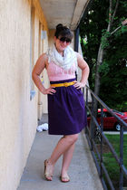 pink American Eagle top - purple Self Made skirt - gold thrifted belt - white f2