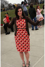 Orange-anthropologie-dress-brown-old-navy-cardigan-green-sears-shoes