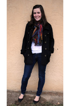 black Macys coat - blue f21 jeans - lucky scarf