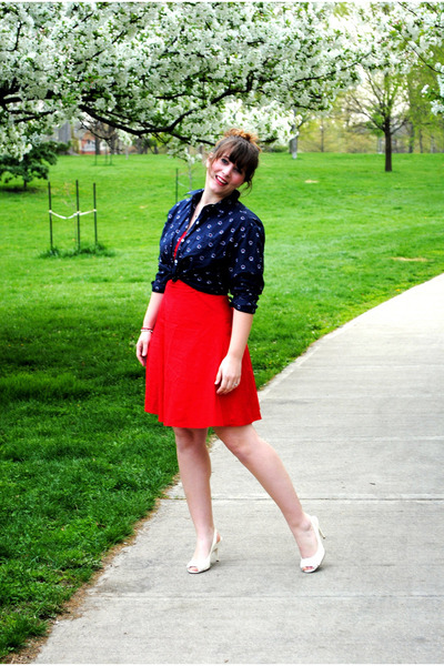 red f21 dress - blue thrifted shirt - white Chloe shoes