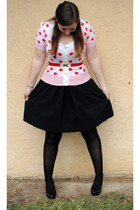 black Macys dress - white lux uo cardigan - red thrifted belt - black Betsey Joh