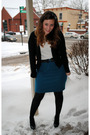 Black-banana-republic-cardigan-white-undershirt-t-shirt-blue-thrifted-skirt-