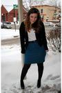 Black-banana-republic-cardigan-white-undershirt-t-shirt-blue-thrifted-skirt-