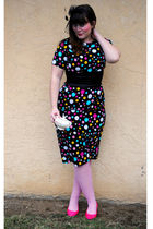 black bettie page dress - pink Betsey Johnshon tights - pink thrifted shoes - bl
