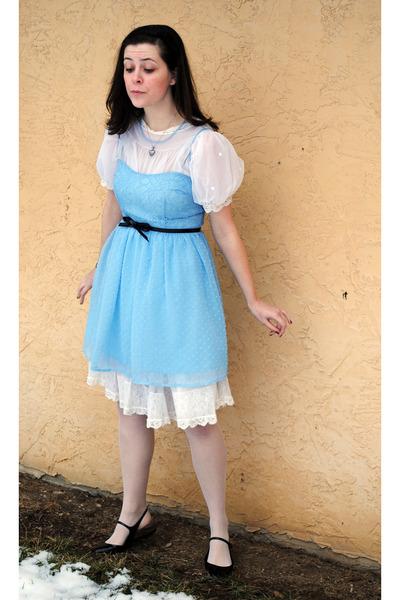 blue Rodarte for Target dress - white thrifted dress - black shoes