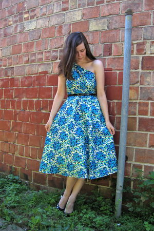 blue self-made dress