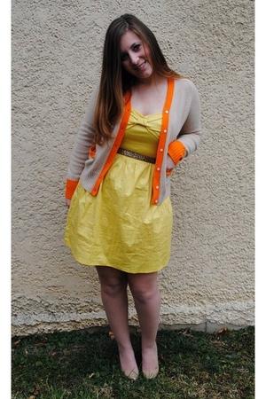 yellow XOXO dress - beige JCrew cardigan - beige simply vera wang tights - beige