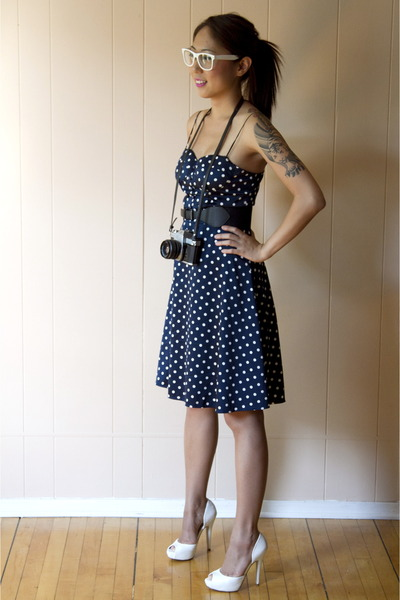 navy polkda dots Forever21 dress - white white Aldo heels
