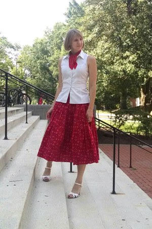 white sleeveless Express blouse - red bandanna scarf - red handmade skirt