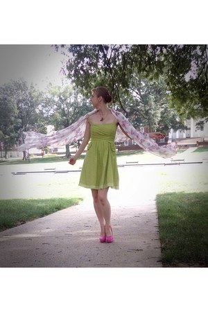 lime green butterfly necklace - hot pink floral shoes - chartreuse dress