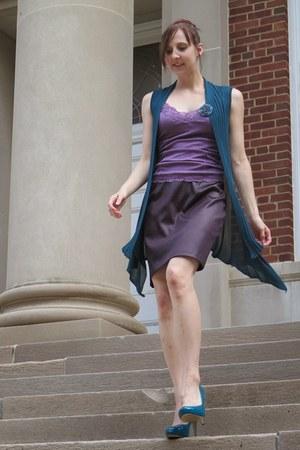 deep purple pleather thrifted skirt - light purple satin Victorias Secret top