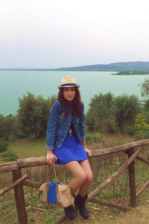 black biker random boots - blue tezenis dress - light yellow Hawkes hat