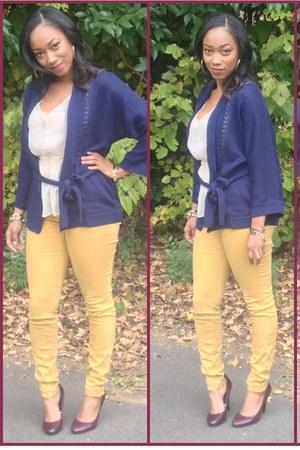 Express jeans - H&M cardigan - sheer Forever21 blouse - Target heels