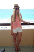 white crochet H&M shorts - salmon sheer new look blouse