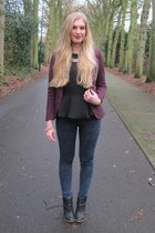black peplum H&M Trend top - black H&M shoes - skinny Primark jeans